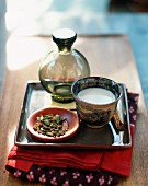 Cup of Chai Tea on a Tray with a Dish of Loose Chai Tea Blend