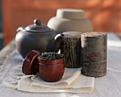 Assorted Tea Canisters with Loose Tea, Tea Pot