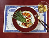 Elegant Broiled Scallop Dinner with a Glass of White Wine