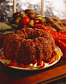 Fruitcake with Red Napkin in Holiday Setting