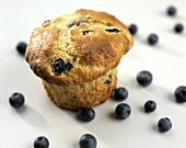 One Blueberry Muffin with a Few Blueberries