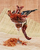 Assorted Dried Peppers in a Glass