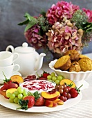 Fruit Platter with Dip and Muffins