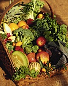 Still Life: Mixed Fruits and Vegetables in a Basket