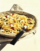Spaghetti with Goat Cheese and Sun Dried Tomato