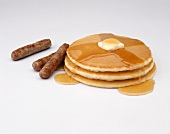 Pancakes with Syrup and Link Sausage