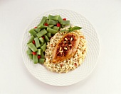 Chicken Breast on a Bed of Rice with Green Beans; From Above