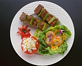 Steak and Green pepper Kabobs with a Side Salad and Stuffed Tomato; From Above