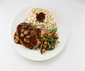 Salisbury Steak with Mashed Potatoes and Vegetables