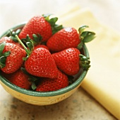 Fresh Strawberries in a Shallow Bowl