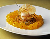 Pineapple Delight with Curled Mango; Topped with Sorbet