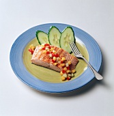 Salmon with Garnished Cucumber