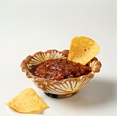 Salsa in a Bowl with a Tortilla Chip