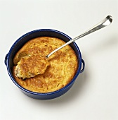 Spoon Bread in a Pan with Spoon; From Above