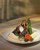 Lamb Shanks with Fresh Asparagus and Mashed Potatoes