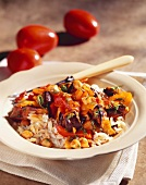 Eggplant Stew with Tomatoes and Chickpeas on Rice Pilaf