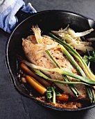 Roasted Halibut with Scallions, Peppers and Spinach in Cast Iron Skillet