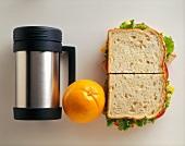 Turkey Sandwich with Orange and Thermos