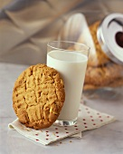 Peanut Butter Cookie with a Glass of Milk