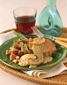 Pork Chop with Sliced Apples and Stuffing