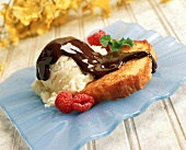 Grilled Poundcake with Vanilla Ice Cream and Hot Fudge