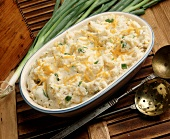 Mashed Potatoes with Green Onions and Shredded Cheddar Cheese