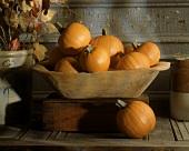 Sugar Pumpkins in a Wooded Bowl