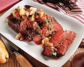Sliced Grilled Sirloin Steak with Fruit Salsa