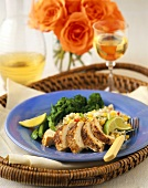 Sliced Chicken with Broccoli Rabe and Barley