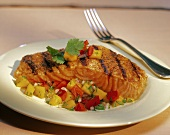 Grilled Salmon Fillet Resting on Diced Peppers