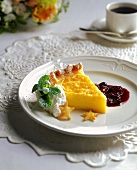 Slice of Chess Pie with Fruit Sauce and Whip Cream