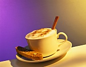 Cup of Cappuccino with a Biscotti