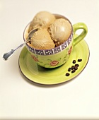 Coffee Ice Cream in a Fancy Cup and Saucer