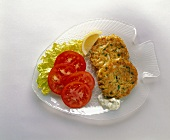 Crab Cakes on a Fish Shaped Plate