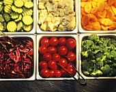 Assorted Vegetables in Inserts for Salad Bar