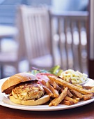 Crab Cake Sandwich with Fries and Cole Slaw