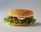 Hamburger with Lettuce and Onion on Sesame Bun
