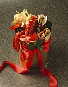 Lobster Bake in a Brass Bucket with Red Ribbon