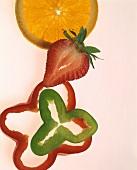 Still Life: Sliced Fruits and Vegetables