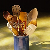 Assorted Kitchen Utensils in a Crock
