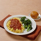Rotini with Tomato Sauce and a Side of Broccoli; Dinner Roll