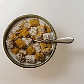 Bowl of Frosted Shredded Wheat Cereal with Milk and a Spoon; From Above