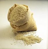 Long Grain White Rice in a Sack