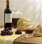 Mixed Still Life: Red Wine, Fruit and Bread