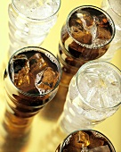 Assorted Glasses of Soda with Ice