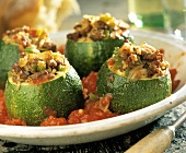 Zucchini Stuffed with Meat and Rice