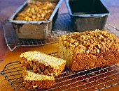 Dutch Apple Bread with Walnuts on a Cooling Rack