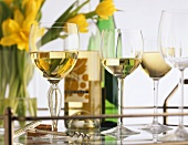 White Wine in Glasses on a Tray with Flowers
