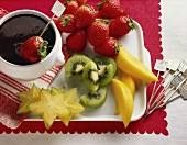 Assorted Cut Up Fruits with Chocolate Fondue