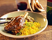 Braised Lamb Shank with Bulgur Wheat and Eggplant Puree